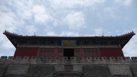 Great Wall & stone battlement,ancient DaiMiao city gate & movement of cl Footage