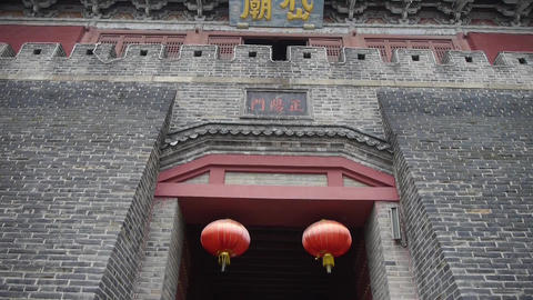 Great Wall & stone battlement,ancient DaiMiao city gate.Red lanterns Footage