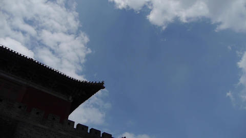 Great Wall & stone battlement,ancient DaiMiao city gate.altocumulus Cloud Footage