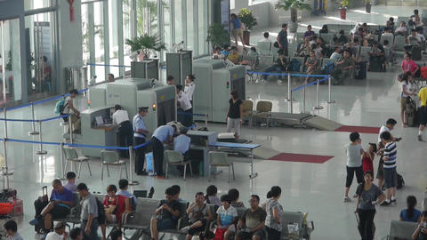 Busy entrance to airport & railway station.waiting hall Stock Video Footage