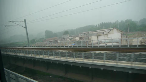 Speeding train travel,scenery outside window.Villages plains tree farmland.train Footage