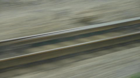 Speeding train travel,scenery outside... Stock Video Footage