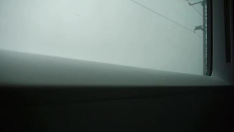 Speeding train travel,scenery outside window.high voltage... Stock Video Footage