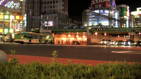 shinjuku traffic night slide Stock Video Footage