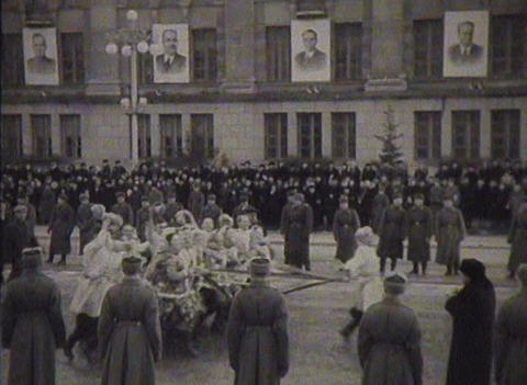 Newsreel, a chronicle of the USSR. Demonstration and parade Stock Video Footage