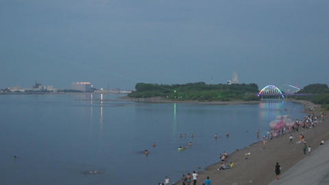 Evening Swim in Amur River (Heilongjiang) 02 Stock Video Footage