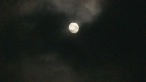 Full Moon In Cloudy Night Sky (real time) Stock Video Footage