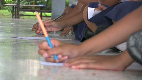 Asian Student Writing Assignment Stock Video Footage