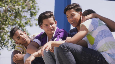 10-Group Of Teenagers Boys Supporting Comforting Friend Live Action