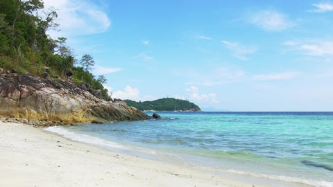 Tropical Island Paradise Beach with Perfect Turquoise Water Footage