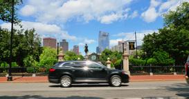 Traffic Passes Entrance to Boston Public Garden Footage