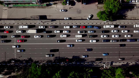 Drone's Eye View - Top down view of urban traffic jam Live Action