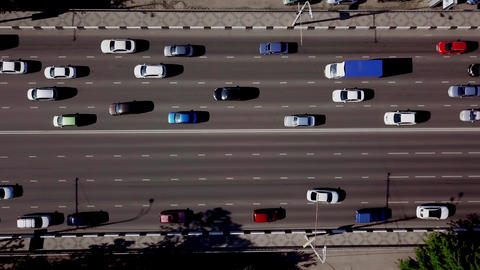 Drone's Eye View - Aerial top down view of urban traffic jam Footage