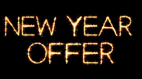 New Year Offer Text Sparkler Glitter Sparks Firework Loop Animation Live Action