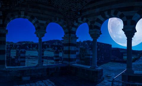 View at the Basilica Holy Trinity of Saccargia - Sardinia - at night
