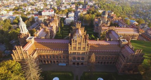 Aerial view of Chernivtsi University in 4k res. - one of the oldest universities Footage