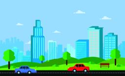 Public park with bench main street city with cars, sky and cityscape background.Beautiful nature Vector