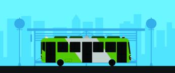 Flat green bus with bus stop in urban scene vector illustration.Bus on main street with Vector
