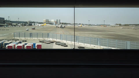 View from the airport at walkway to gate Footage