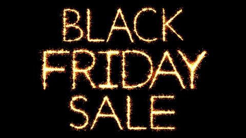 Black Friday Sale Text Sparkler Glitter Sparks Firework Loop Animation Live Action