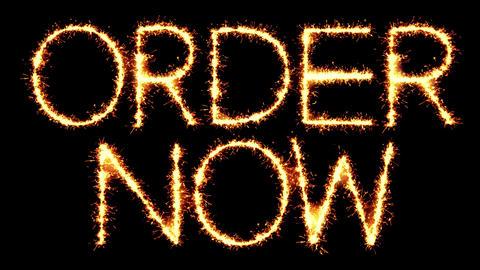 Order Now Text Sparkler Glitter Sparks Firework Loop Animation Footage