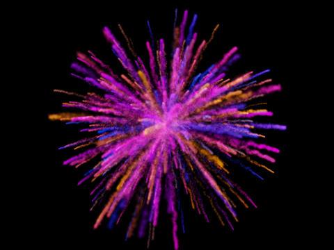 Colorful powder explosion on black background Fotografía
