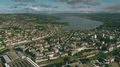Zurich cityscape and the lake, aerial view. Switzerland Footage