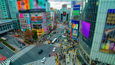 A timelapse of the famous crossing in Shibuya Tokyo high angle wide shot panning Footage