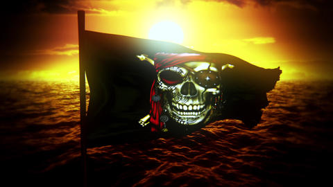 Jolly Roger Pirate Ship Flag at Sunset Intro Logo Motion Background Videos animados