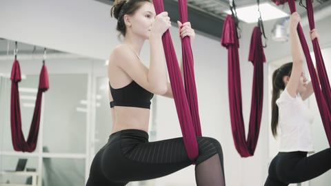 Group yoga training. Young women is training in fabric hammock in studio Live Action