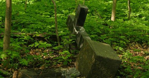 fallen gravestone cross Footage