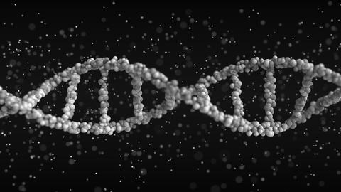 Turning DNA molecule model with particles, loopable 3D animation Footage
