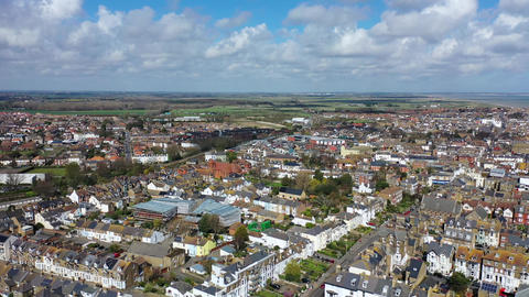 Aerial view of Deal town, Deal, Kent, UK Live Action