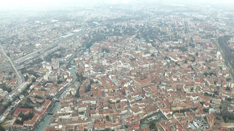 Aerial view of Treviso and the River Sile, Italy Live Action