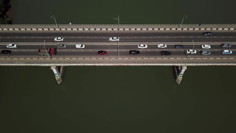 Drone's Eye View - 4K Aerial view of bridge from top with copy space Footage