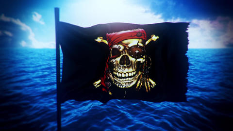 [alt video] Jolly Roger Pirate Ship Flag Intro Logo Motion Background