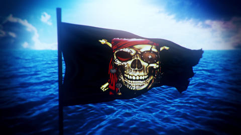 Jolly Roger Pirate Ship Flag Intro Logo Motion Background Animation