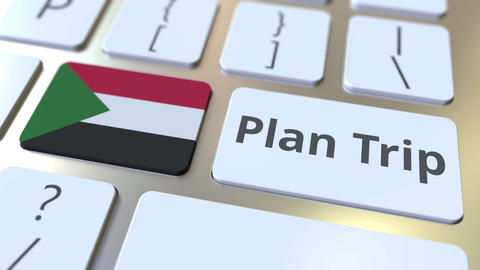 PLAN TRIP text and flag of Sudan on the computer keyboard, travel related 3D Footage