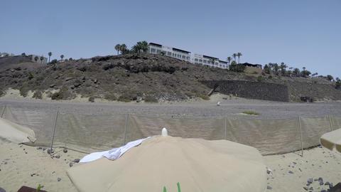 Seaside sandy beach and Seaside resort 360 degree timelapse in Fuerteventura Live Action