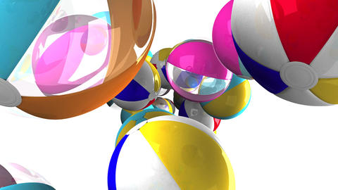 Colorful beach balls on white background Animation