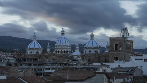 Cathedral Domes At Sunset in Cuenca, Ecuador Time-Lapse Footage