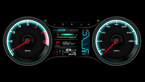 Car dashboard animation speedometer and round per minute meter cyber futuristic design element for Live Action