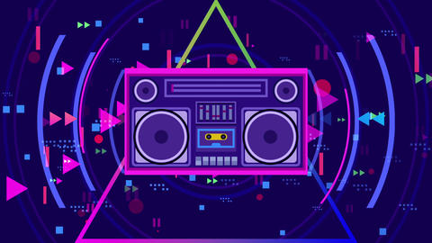 Retro party in 80's style Animation