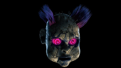 Abandoned Punk Doll Head VJ Loop Animation
