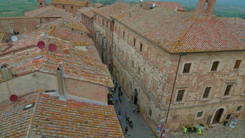 Aerial view of the roofs of Montepulciano and the surrounding countryside, in 4K GIF