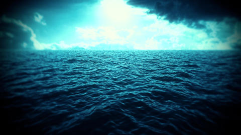 Blue Sea, Sky & Clouds Intro Logo Motion Background Animation