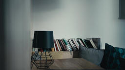 Interior: Table, Lamp, Books on a Bookshelf and Pillows in Cafe or Kitchen Footage