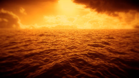 Orange Sea, Sky & Clouds Intro Logo Motion Background Animation