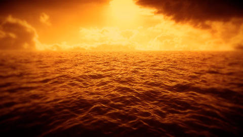 Orange Sea, Sky & Clouds Intro Logo Motion Background Stock Video Footage