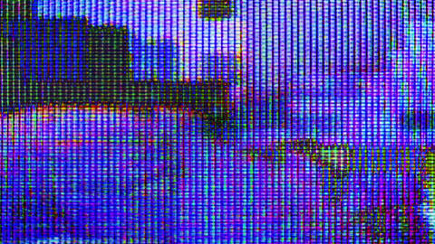 Video Flux 052: Device screen pixels fluctuate with color and video motion Animation